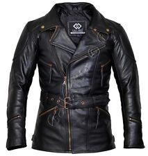 Eddie Black Mens Motorcycle Biker Long Leather Jacket L Yes