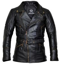 Eddie Black 3/4 Mens Motorcycle Biker Long Leather Jacket quarter length bike
