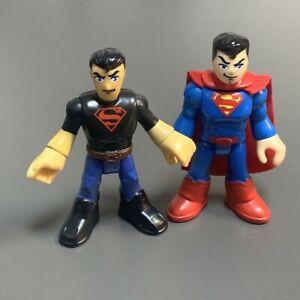 Lot 2 Superman Black Imaginext DC Super Friends Figure Comics Heroes kids Toys