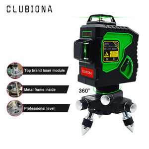 CLUBIONA 3D 360° Rotary Laser Level Self-Leveling 12 Powerful GREEN Cross Lines