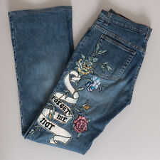 Roberto Cavalli Blue Denim Jeans w/ Forget Me Not Floral Embroidery Size M