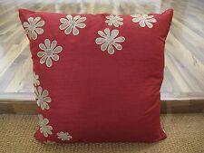 "ZEBA Beautiful Applique Silk Red Cream Floral Cushion Covers (18x18"",45x45cm)"