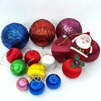 Christmas nylon bauble balls Faux silk Ornament Santa Claus Flocked Vintage Bulk