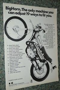 1970 KAWASAKI 350 BIG HORN ORIGINAL ADVERTISEMENT PRINT AD 70 BIGHORN MOTORCYCLE