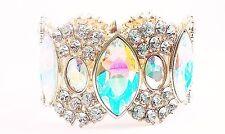 Gold Aurora Crystal Bracelet Stretch Wedding Pageant Prom Bride Showgirl Bangle