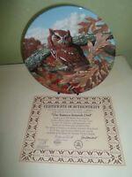 Delightful Colourful Owl Plate EASTERN SCREECH OWL by Jim Beaudoin Bird Interest