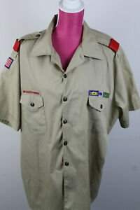 BSA Official Khaki Boy Scout Uniform Shirt  Men's L Short Sleeve w/ Red Loops