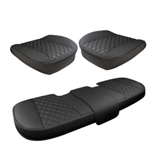 3x Car Seat Cover PU Leather Front Rear Set Full Surrounding Cushion Protector