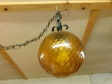 Vintage  Amber Glass Round Ball w Black Wrought Iron Trim Hanging Swag Lamp