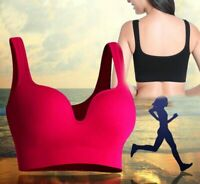Womens Yoga Running Seamless Padded Sports Bra Vest Fitness Workout Gym Br48