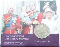2018 Royal Mint Four Generations of Royalty BU £5 Five Pound Coin Pack Sealed