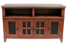 Gaines Rustic Farmhouse Style Solid Wood TV Stand - Distressed Red