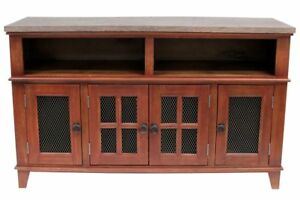 Crafters and Weavers Gaines Farmhouse Solid Wood TV Stand - Distressed Red