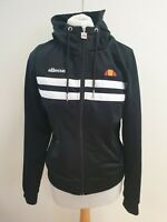 KK364 WOMANS ELLESSE BLACK DRAWSTRING FULL ZIP SPORTS HOODIE TOP UK 10 EU 38