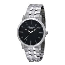 NEW KENNETH COLE WATCH for Men Round Black Dial w/Silver Stainless Steel KC9231