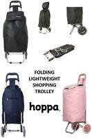 Hoppa Lightweight 2 Wheel Folding Shopping Trolley Large Wheeled Shopper Cart