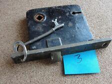 Old Antique Rim Lock Set Skeleton Key Mortise Box Hardware Restoration Salvage 3