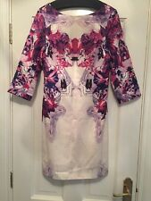Victoire Silk Mix Dress Ivory Pink Purple Fully Lined Worn Once Size 8