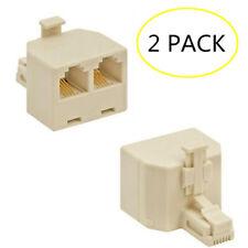 2pc Phone Line 1 to 2 Dual RJ11 Jack Modular Telephone Duplex Splitter Adapter ♫
