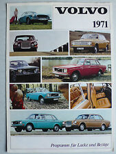 Prospekt Volvo Lacke / Bezüge 1971: 142/144/145,164,1800 E, 8.1970, 6 Seiten