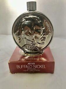 VINTAGE AVON  1913 Buffalo Head Nickel Aftershave Decanter Flask Empty