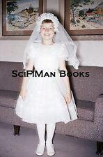 KODACHROME 35mm Slide Pretty Girl Communion Gown Veil Sofa Fashion 1960!!!