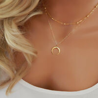 Gold &Silver Plated Double Layer Clavicle Necklace Women Moon Pendant Chokers