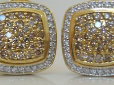 $7350 DAVID YURMAN 18K GOLD , COGNAC & WHITE DIAMOND EARRINGS