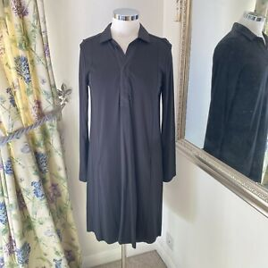 White company Size 10 black jersey collared smart casual shift dress stretchy