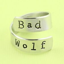Bad Wolf Twist Wrap Ring Aluminum Adjustable Ring Hand Stamped Ring