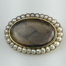 Mourning Locket Hair Seed Pearl Brooch Pin Pendant 1820's E. Badger