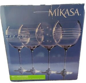 Mikasa CHEERS Crystal Balloon Goblet 24.59 oz Set of 4 Brand New in Box