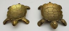 2 Vintage Brass Metal Turtle Animal Coin Tray Trinket Candy Dish Ashtray holders