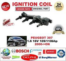 FOR PEUGEOT 307 1.6 16V 109/110 bhp 2000> IGNITION COIL inc SPARK PLUG CONNECTOR
