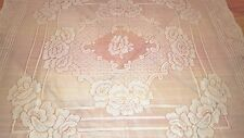 """Quaker style solid snow white polyester mix net  tablecloth 44"""" x 45"""" vtg"""