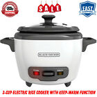 BLACK+DECKER 3-Cup Electric Rice Cooker with Keep-Warm Function, Nonstick, White photo