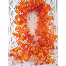 10x Artificial Fall Wedding Maple Leaf Garland Silk Vine Garden Decor Decoration