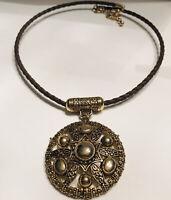 Braided Brown Leather Cord Circle Amulet Pendant Necklace Boho Choker J6937
