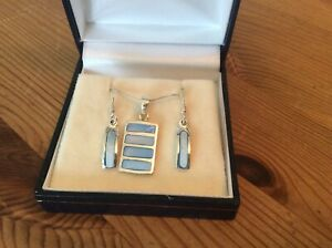 Silver & blue Necklace & Earring Set