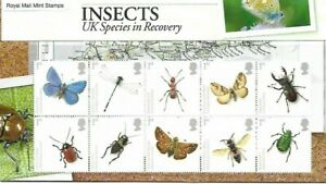 GB 10 x MNH Stamps. INSECTS UK Species in Recovery
