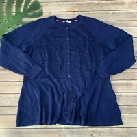 Isaac Mizrahi Live Lace Front Cardigan Sweater Size XL Navy Blue Long Sleeve