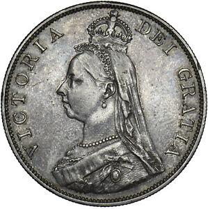 1889 DOUBLE FLORIN - VICTORIA BRITISH SILVER COIN - V NICE