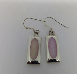 Sterling Silver Pink  Mother Of Pearl Rectangular Shaped Dangle  Earring.