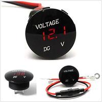 DC12V Round Panel Voltage Meter Red LED Digital Display Car Voltmeter Waterproof