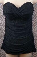 Strapless Black Crochet Swim Dress twist front bathing suit wear Merona Small