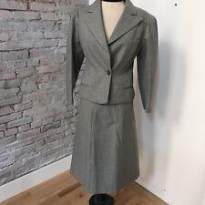 Vintage Suit 30's 40's Genevieve D' Ariaux Skirt Suit Gray Pinstripe Waldes 6