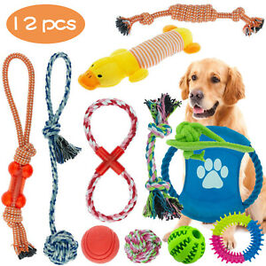1/12PC Dog Rope Toys Nolsen Puppy Chew Toy Gift Set Durable Cotton Clean Teeth