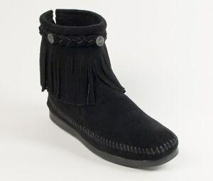 Minnetonka Women's Black High Top Back Zip Moccasin Boot 299