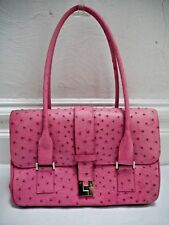 LAMBERTSON TRUEX pink genuine ostrich skin exotic leather handbag