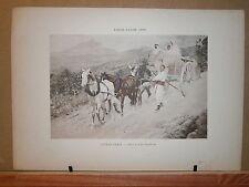 Gravure 19° 1899 couleur Peinture Alfred Paris roulage en Kabylie charette